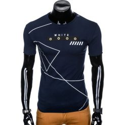 T-SHIRT MĘSKI Z NADRUKIEM S982 - GRANATOWY. Czarne t-shirty męskie z nadrukiem marki Ombre Clothing, m, z bawełny, z kapturem. Za 29,00 zł.