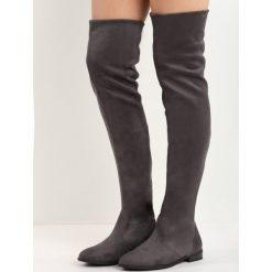 Szare Kozaki Fondle. Szare buty zimowe damskie marki Born2be, z okrągłym noskiem, na niskim obcasie, na słupku. Za 99,99 zł.