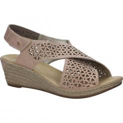 Różowe sandały ażurowe na koturnie Rieker 62484-31. Czarne sandały damskie marki Rieker, z materiału. Za 238,99 zł.