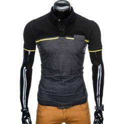 KOSZULKA MĘSKA POLO BEZ NADRUKU S917 - CZARNA/GRAFITOWA. Czarne koszulki polo Ombre Clothing, m, z nadrukiem. Za 49,00 zł.