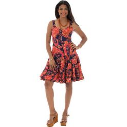 Odzież damska: Sukienka w kolorze pomarańczowo-granatowym