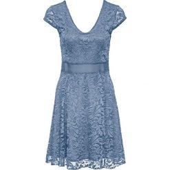 Sukienki: Sukienka z dżerseju z koronką bonprix matowy niebieski