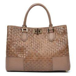 Torebki i plecaki damskie: Skórzana torebka w kolorze fango – (S)27 x (W)38 x (G)15 cm