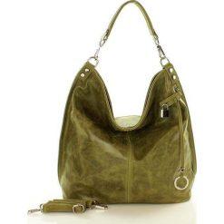 Torebki klasyczne damskie: Skóra naturalna torebka worek Isabella zielony