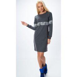 Sukienki: Sukienka z napisami ciemnoszara 1464