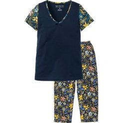 Piżamy damskie: Piżama z krótkim rękawem i spodniami 3/4 bonprix ciemnoniebieski z nadrukiem