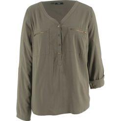 Bluzka z wiskozy, długi rękaw bonprix ciemnooliwkowy. Zielone bluzki longsleeves bonprix, z wiskozy. Za 74,99 zł.