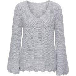 Swetry klasyczne damskie: Sweter dzianinowy z rozcięciami w rękawach bonprix ciemnoszary melanż