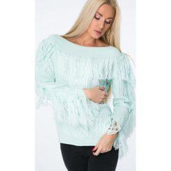 Swetry klasyczne damskie: Sweter dekolt w łódkę z frędzlami miętowy MISC4540