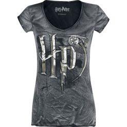 Harry Potter Logo Koszulka damska szary. Szare bluzki asymetryczne Harry Potter, m, z nadrukiem, z krótkim rękawem. Za 79,90 zł.