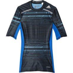 Adidas Koszulka męska Techfit Chill Short Sleeve Tee czarno-niebieska r. L (AY8364). Czarne koszulki sportowe męskie marki Adidas, do piłki nożnej. Za 139,00 zł.