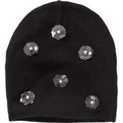 Czapka beanie bonprix czarno-srebrny kolor. Czarne czapki zimowe damskie marki bonprix. Za 44,99 zł.