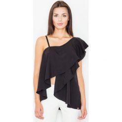 Bluzki asymetryczne: Czarna Bluzka na Jedno Ramię z Asymetryczną Falbanką