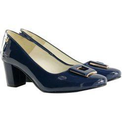 Buty ślubne damskie: Czółenka w kolorze granatowym