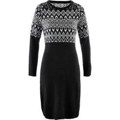 Sukienki dzianinowe: Sukienka dzianinowa bonprix czarno-biel wełny wzorzysty