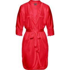 Szlafrok kimono bonprix czerwony. Czerwone szlafroki kimona damskie bonprix, z satyny. Za 89,99 zł.