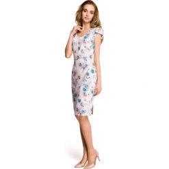 MADRA Sukienka ołówkowa z dekoltem i mini rękawami - model 3. Szare sukienki mini marki Stylove, s, z nadrukiem, z tkaniny, dopasowane. Za 169,90 zł.