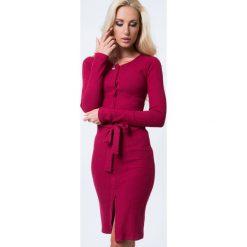 Sukienka z prążkownego materiału bordowa 1604. Czerwone sukienki Fasardi, l. Za 64,00 zł.