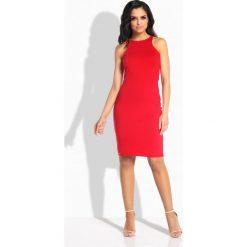 Sukienki: Seksowna dopasowana sukienka bez rękawów czerwony