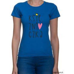 Koszulka damska. księżniczka. Niebieskie bluzki z odkrytymi ramionami marki Pakamera, z nadrukiem. Za 79,00 zł.