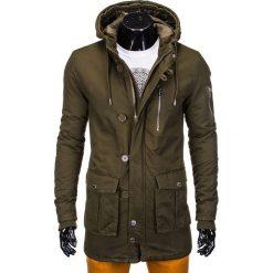 KURTKA MĘSKA ZIMOWA PARKA C301 - OLIWKOWA. Zielone kurtki męskie pikowane marki producent niezdefiniowany, na zimę, m, z bawełny. Za 99,00 zł.