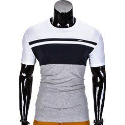 T-SHIRT MĘSKI BEZ NADRUKU S844 - GRANATOWY/SZARY. Niebieskie t-shirty męskie z nadrukiem Ombre Clothing, m. Za 29,00 zł.