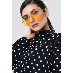 Okulary przeciwsłoneczne damskie aviatory: NA-KD Trend Kwadratowe okulary przeciwsłoneczne – Yellow