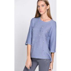 Swetry klasyczne damskie: Niebieski Sweter Animal Print