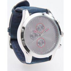 Zegarek ze skórzanym paskiem - Granatowy. Niebieskie zegarki męskie Reserved. Za 99,99 zł.