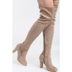 Beżowe Kozaki Same Girl. Brązowe buty zimowe damskie marki Born2be, z materiału, na wysokim obcasie, na obcasie. Za 129,99 zł.