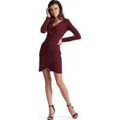 Bordowa Kopertowa Sukienka Wyjściowa z Asymetrycznym Dołem. Czerwone sukienki asymetryczne Molly.pl, na imprezę, l, wizytowe, z asymetrycznym kołnierzem, z długim rękawem. Za 149,90 zł.