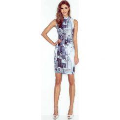 Sukienki: Sukienka Dopasowana z Golfem Wzór – Miasto