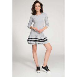Sukienki: Szara Sukienka Mini z Panelami z Eko-skóry