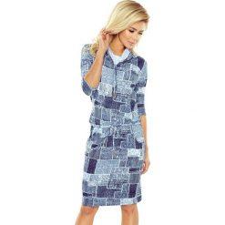 Chantal Sukienka sportowa z golfem i wiązaniem - JEANS ŁATY. Niebieskie sukienki marki numoco, na imprezę, s, w kwiaty, z jeansu, sportowe, sportowe. Za 129,99 zł.
