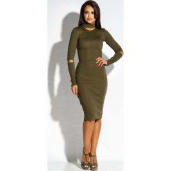 Oliwkowa Sukienka Ołówkowa z Wycięciami. Czarne długie sukienki marki bonprix, do pracy, w paski, biznesowe, moda ciążowa. Za 229,90 zł.