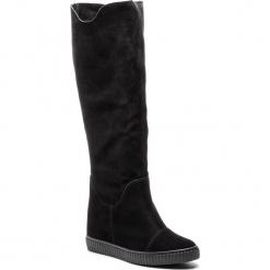 Kozaki R.POLAŃSKI - 0980 Czarny Zamsz. Czarne buty zimowe damskie marki R.Polański, ze skóry, na obcasie. W wyprzedaży za 279,00 zł.