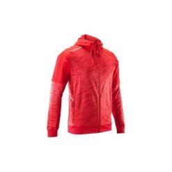 Bluza do biegania RUN WARM+ męska. Czerwone bluzy męskie rozpinane marki KALENJI, m, z elastanu, z długim rękawem, długie. Za 119,99 zł.