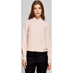 Bluzki damskie: Koszulowa Bluzka Polo z Niską Stójką - Wzór Różowa