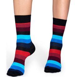 Happy Socks - Skarpetki Stripe. Szare skarpetki damskie Happy Socks, z bawełny. W wyprzedaży za 29,90 zł.