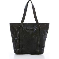 Shopper bag damskie: Skórzany shopper bag w kolorze czarnym – 28 x 30 x 12 cm