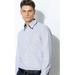 Ciemnoniebieska Koszula Granate. Szare koszule męskie na spinki Born2be, m, w paski, z długim rękawem. Za 54,99 zł.