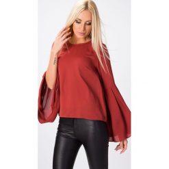 Bluzki damskie: Bluzka z dzwonowatymi rękawami ruda MP28491