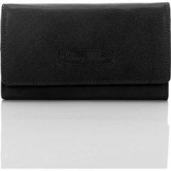 Portfele damskie: Czarny Elegancki skórzany portfel damskie Idealny na prezent