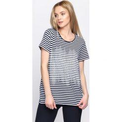 Bluzki damskie: Granatowy T-shirt Serve It Up