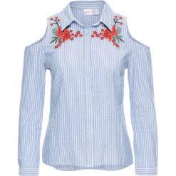 Bluzki damskie: Bluzka z wycięciami i haftem bonprix biało-jasnoniebieski w paski