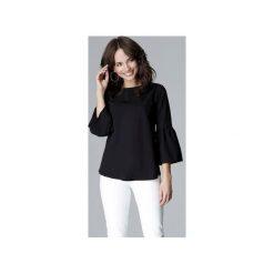 Bluzka L010 Czarny. Czarne bluzki wizytowe marki Lenitif, l, eleganckie, z falbankami. Za 119,00 zł.
