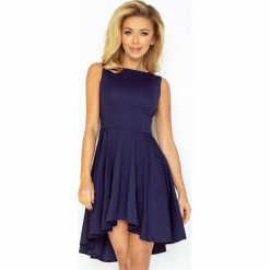 33-3 ekskluzywna sukienka z dłuższym tyłem - granatowa. Niebieskie sukienki z falbanami marki numoco, l. Za 134,00 zł.