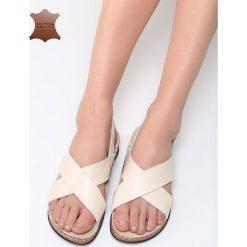 Beżowe Skórzane Sandały Bad Embrace. Brązowe sandały damskie marki Born2be, z materiału, na obcasie. Za 99,99 zł.