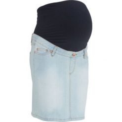 """Spódnica ciążowa dżinsowa """"super-stretch"""" bonprix jasnoniebieski """"bleached"""". Niebieskie spódnice ciążowe marki bonprix, z materiału, z dekoltem w serek. Za 59,99 zł."""