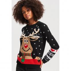 Sweter ze świątecznym motywem - Czarny. Czarne swetry klasyczne damskie marki Reserved, l. Za 79,99 zł.